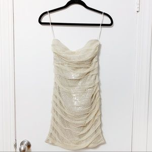 Champagne ruched sequin strapless dress